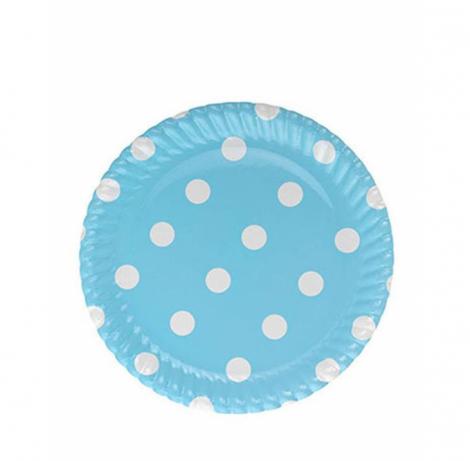 mavi puanlı karton tabak